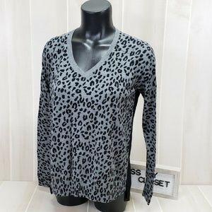 Loft Women's Leopard Knit Top S ~ EJ18